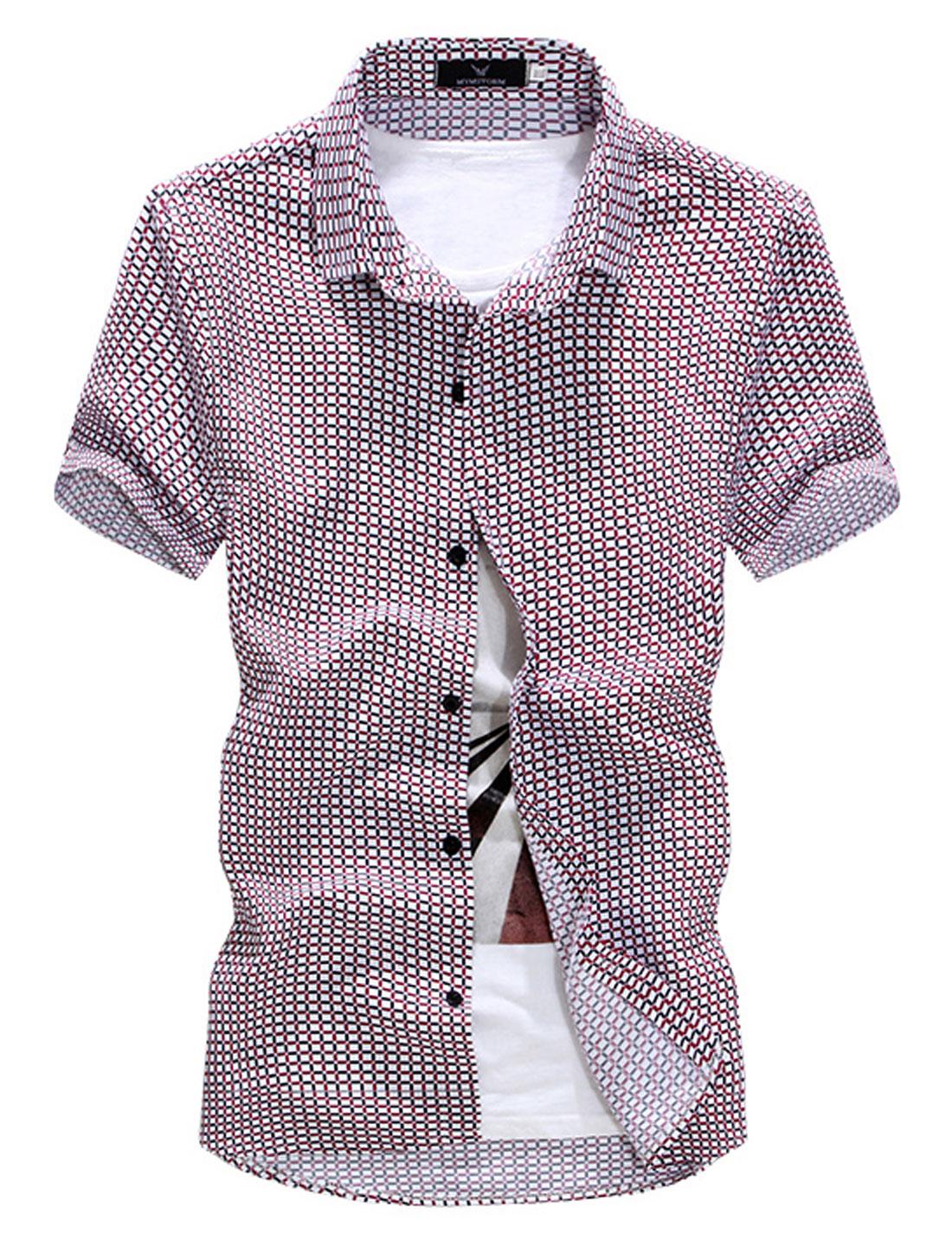 Men Point Collar Plaids Button Front Summer Shirt Burgundy M
