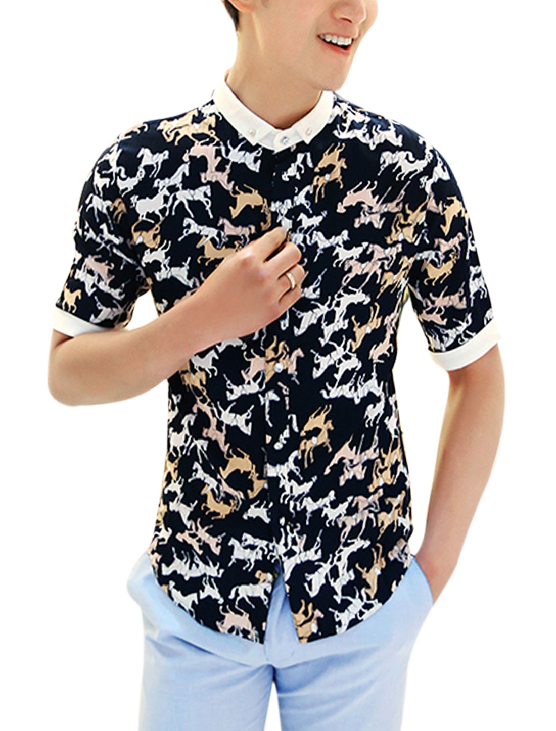 Men Fashion Horses Pattern Short-sleeved Slim Fit Leisure Shirt Black M