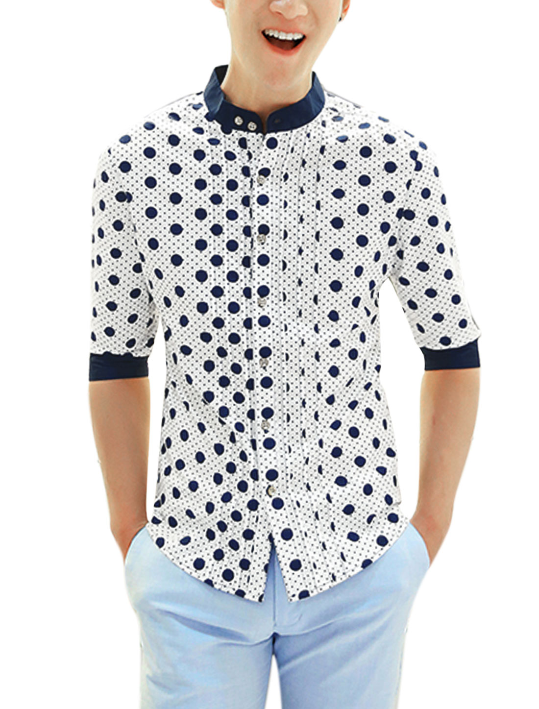 Men Dots Pattern Stand Collar Elbow Sleeve Casual Shirt White M
