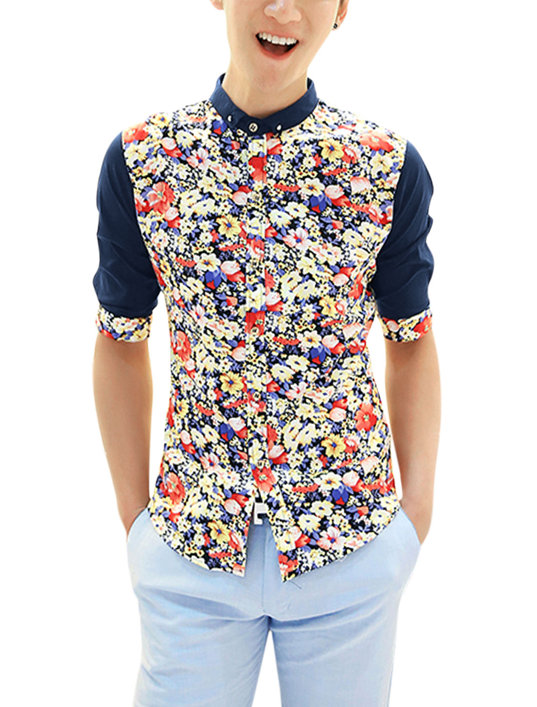 Men Floral Prints Point Collar Elbow Sleeve Casual Shirt Navy Blue M