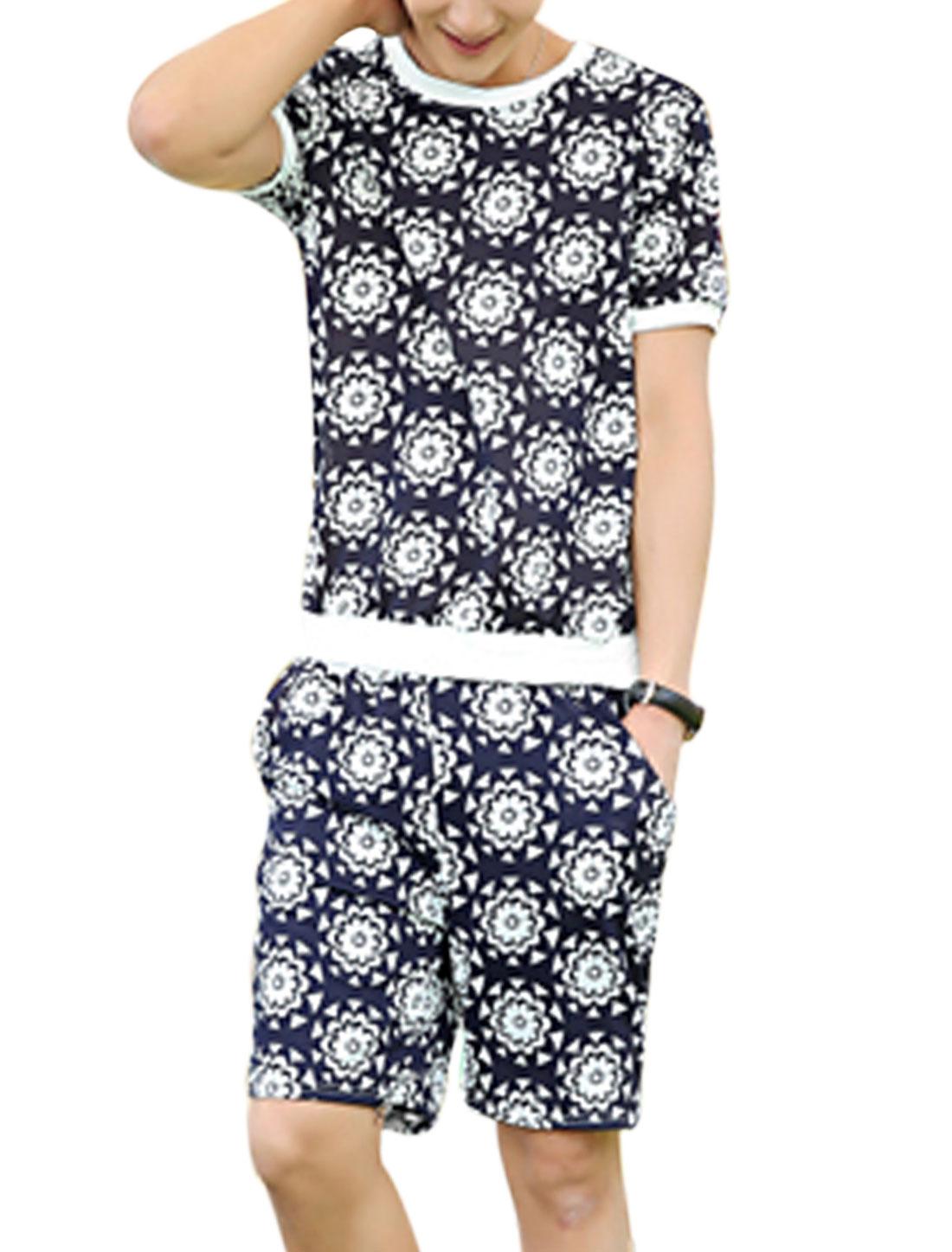 Men Flower Pattern T-Shirt w Elastic Waist Short Pants Navy Blue White S