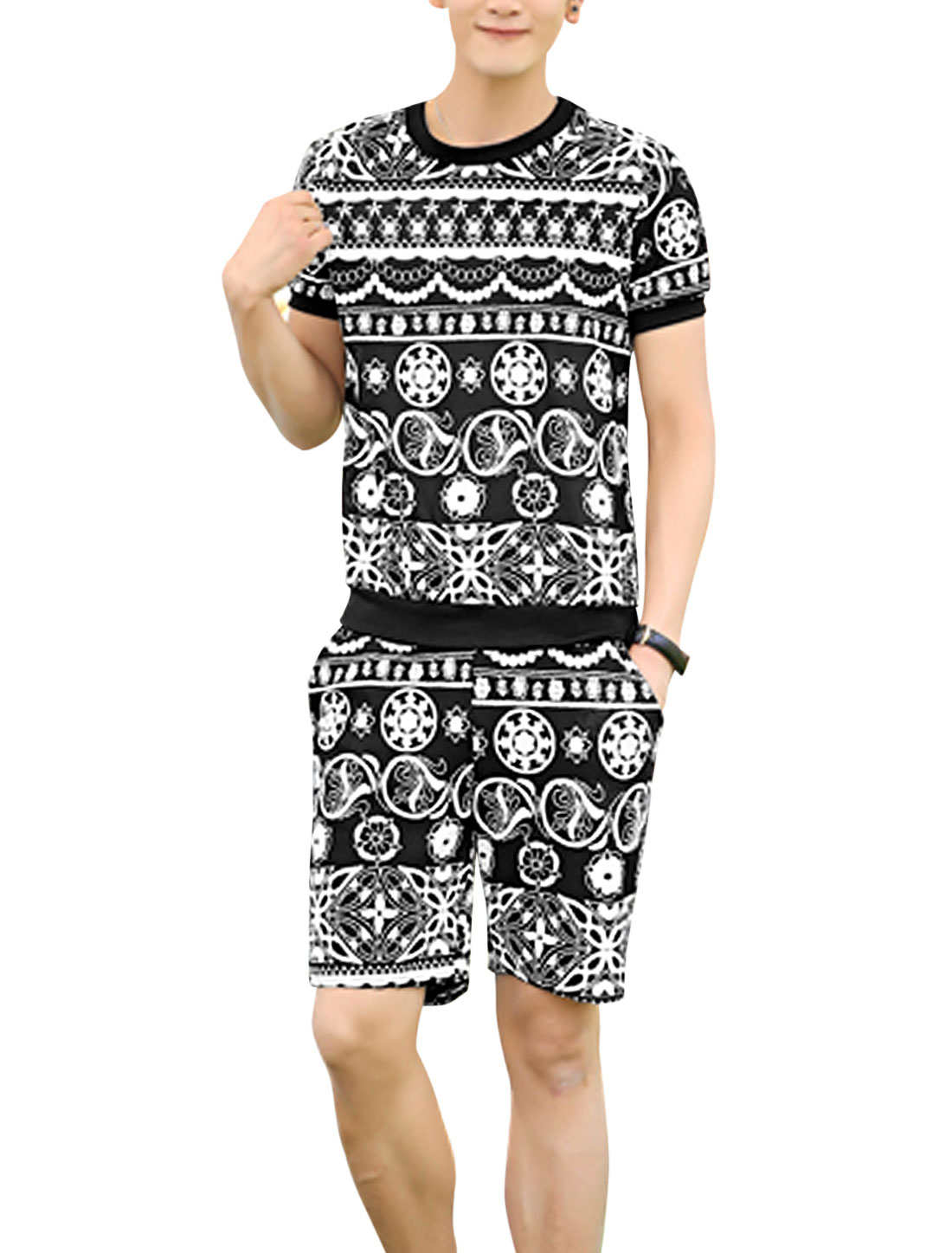 Men Round Neck Short Sleeve Novelty Prints Top w Shorts Black White S