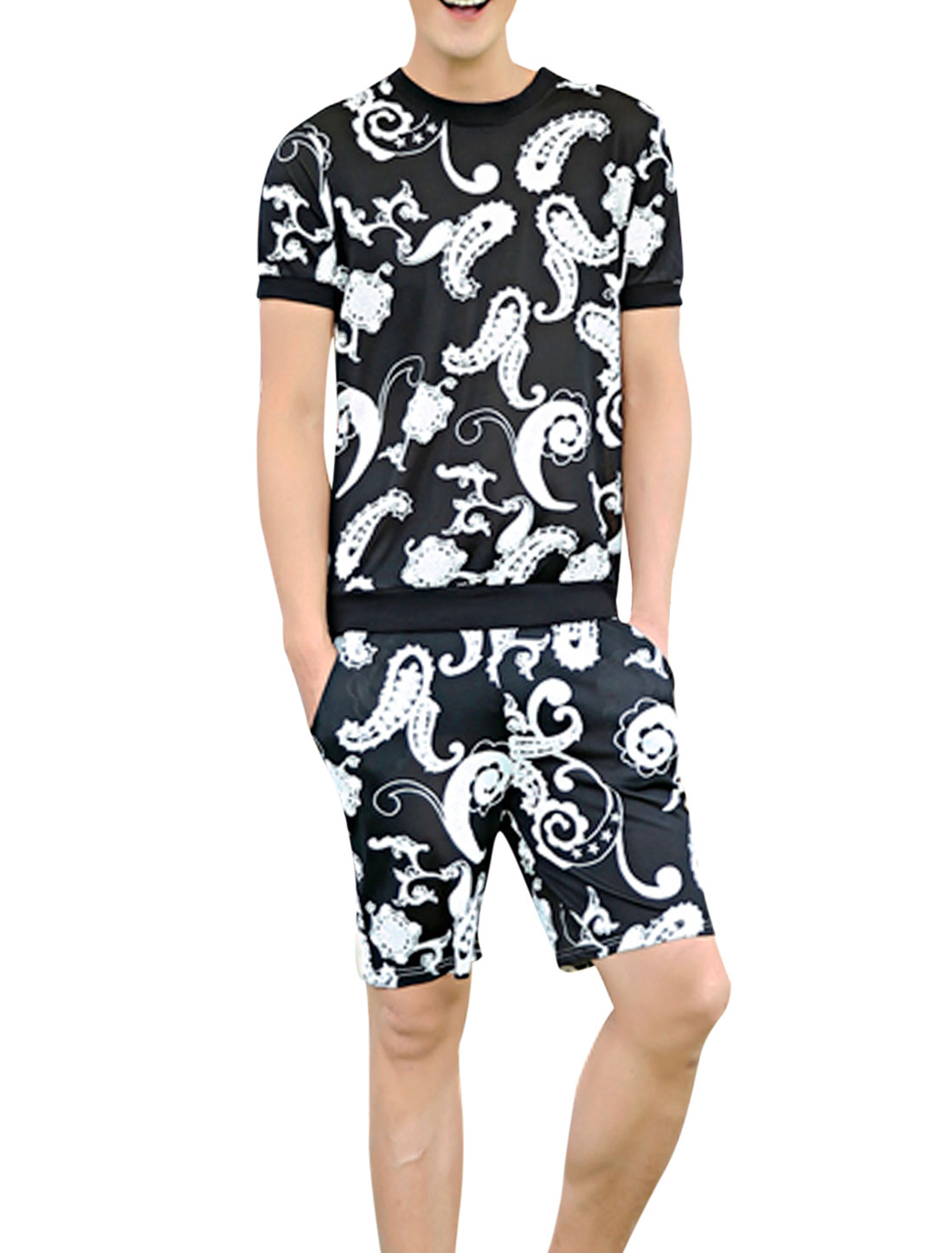 Men Paidsleys Prints Panel Design T-Shirt w Elastic Waist Shorts Black White S