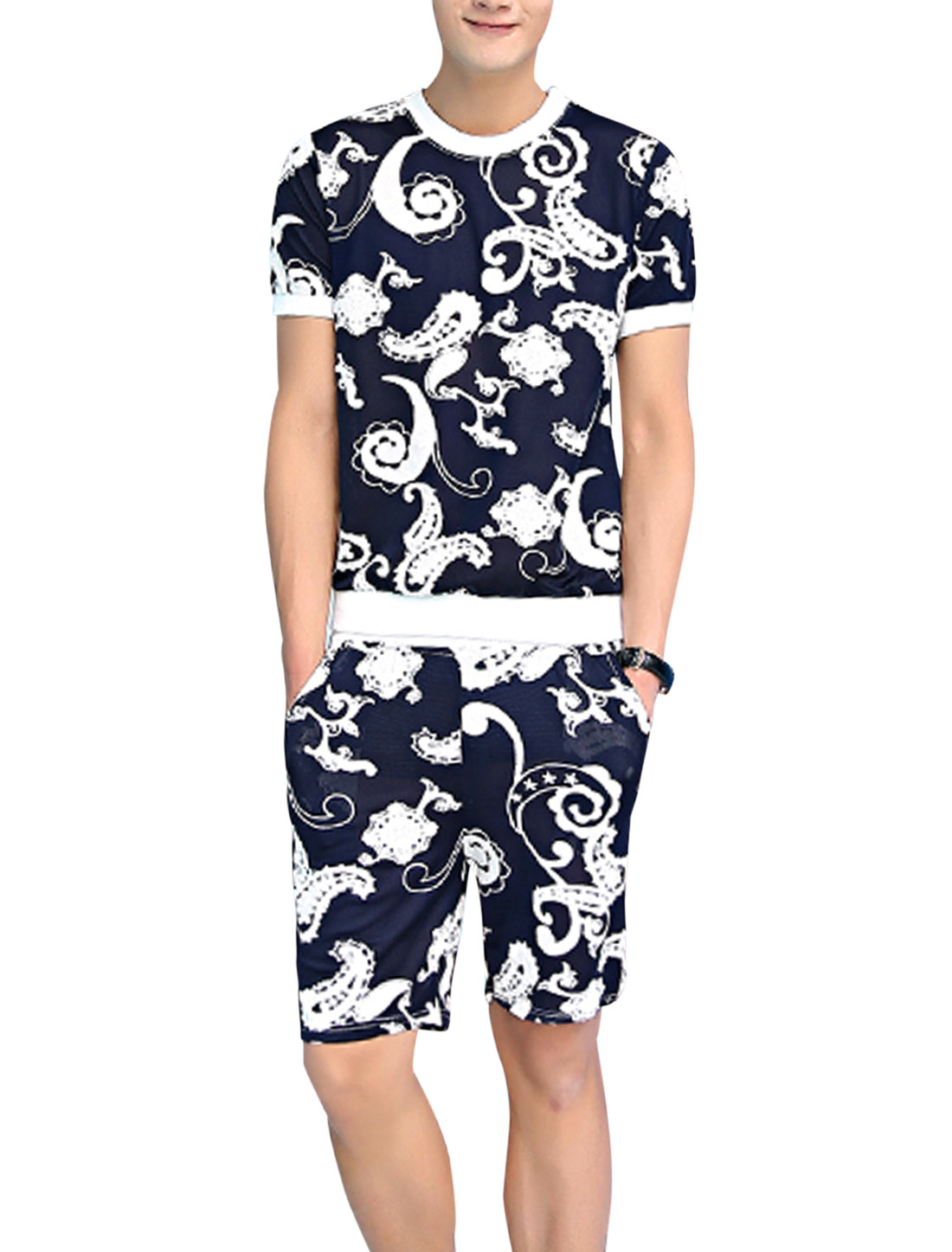 Men Paidsleys Prints Patchwork Pullover T-Shirt w Elastic Waist Shorts Navy Blue White S