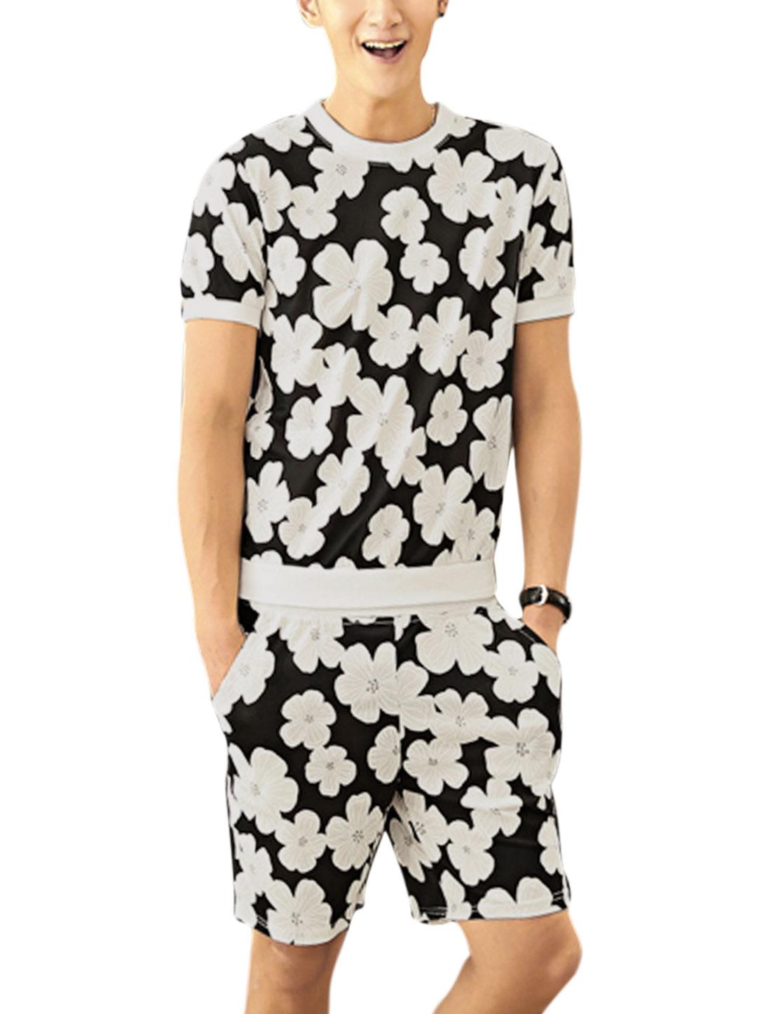 Men Floral Prints Short Sleeve T-Shirt w Elastic Waist Shorts Black White S