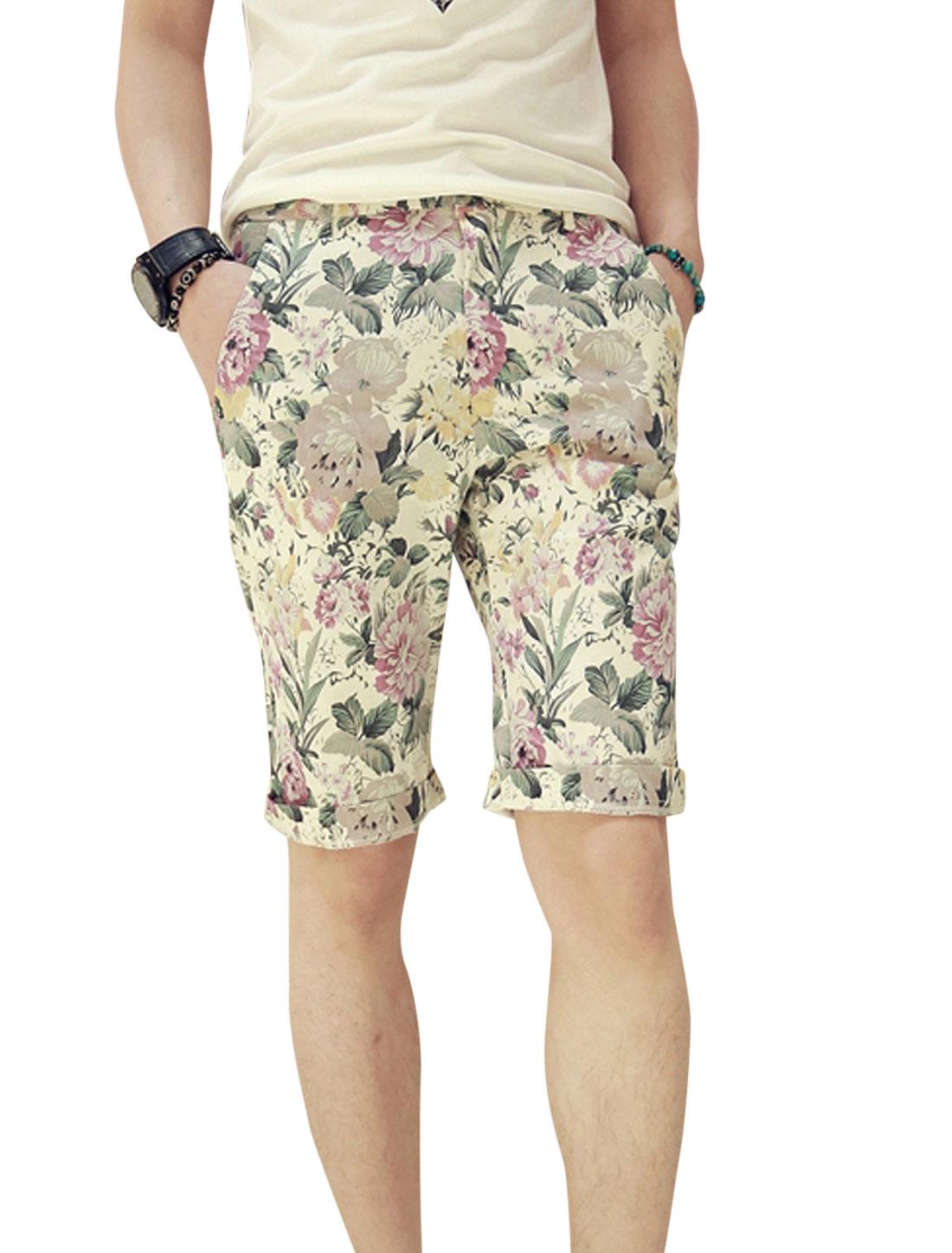 Men Belt Loop Zip Fly One Button Up Floral Prints Soft Shorts Multicolor W28