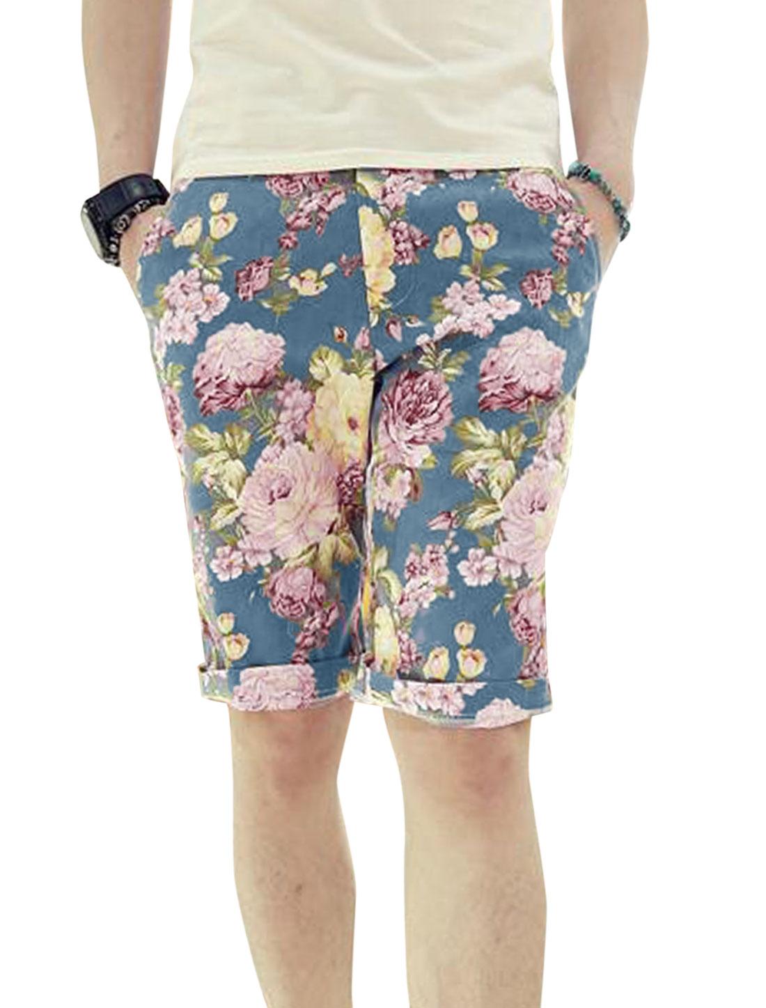 Men Belt Loop Zip Front One Button Up Floral Prints Shorts Multicolor W28