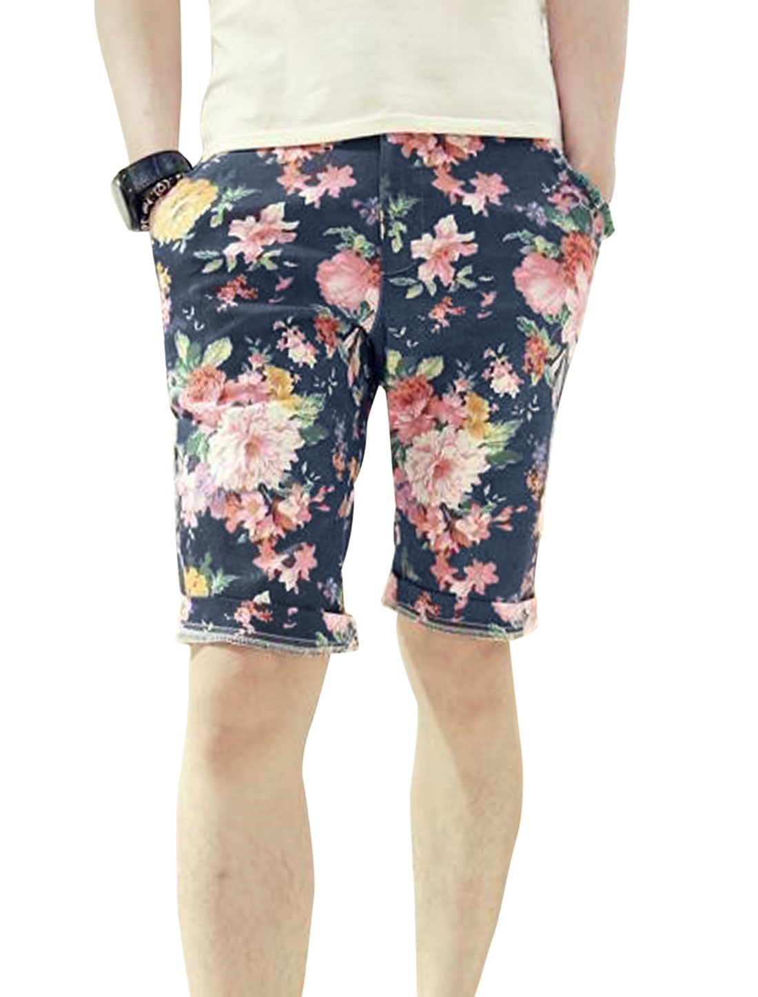 Men Belt Loop Zip Fly One Button Up Flower Pattern Shorts Multicolor W28