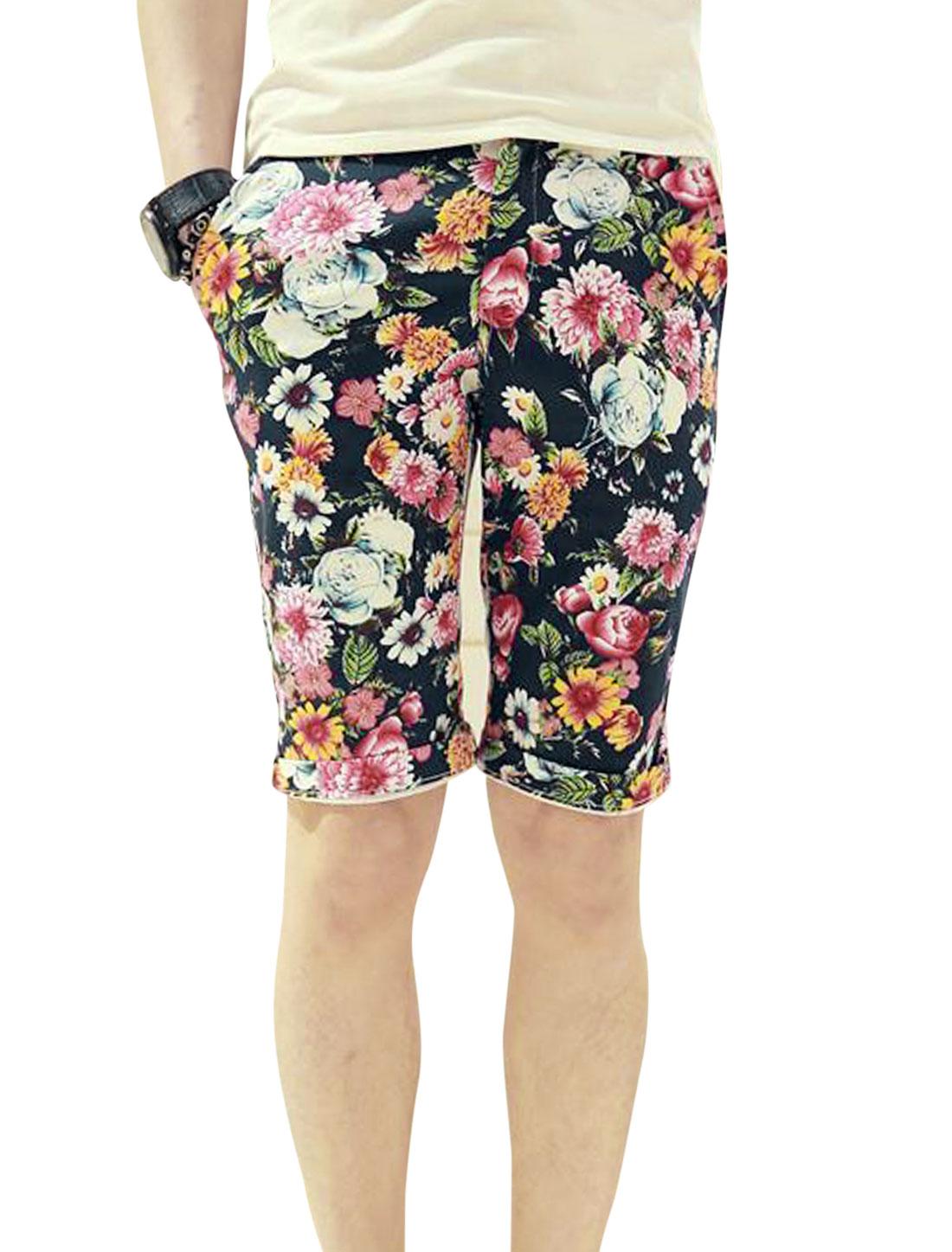 Men Floral Prints Belt Loop Single Button Closure Short Pants Multi-color W28