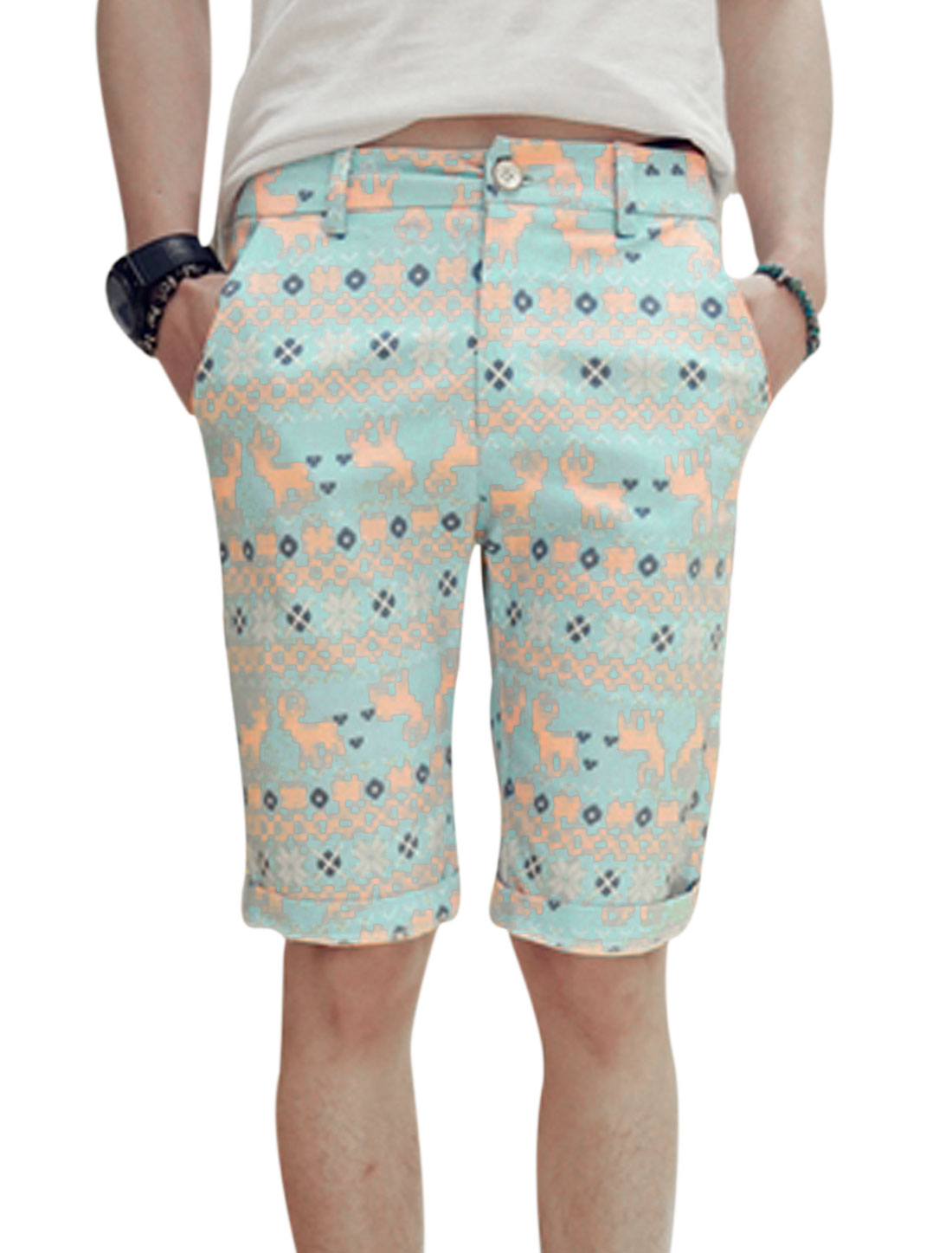 Men Geometric Prints Two Slant Pockets Mid Rise Slim Shorts Turquoise W28