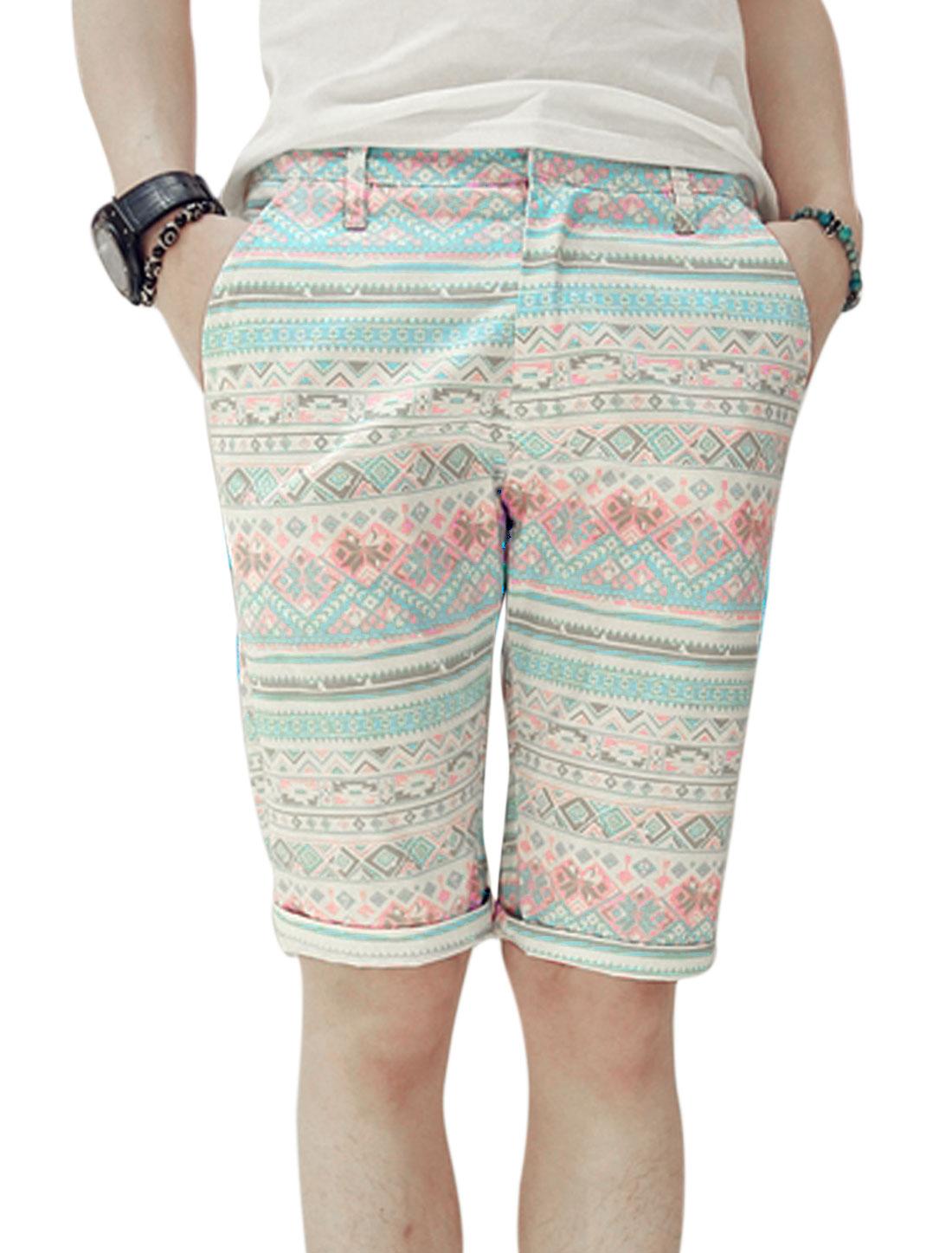 Men Geometric Prints Slant Pockets Slim Mid Rise Casual Shorts Sky Blue W28