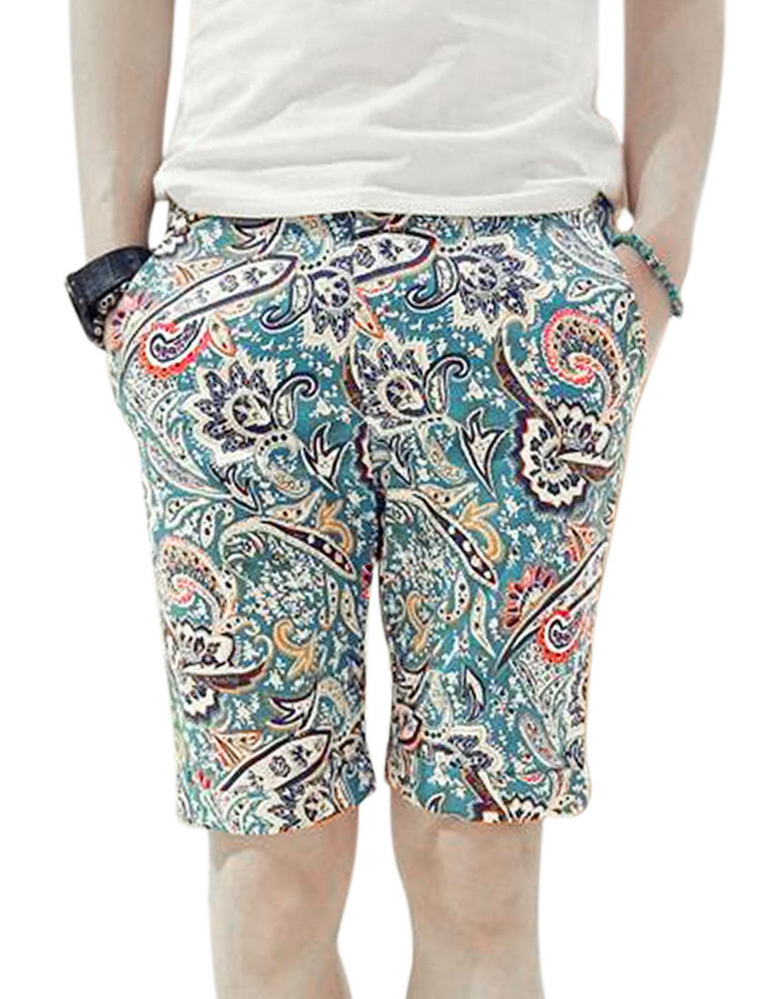 Paisleys Pattern Zipper Fly Belt Loop Mid Rise Slim Shorts for Men Turquoise W28