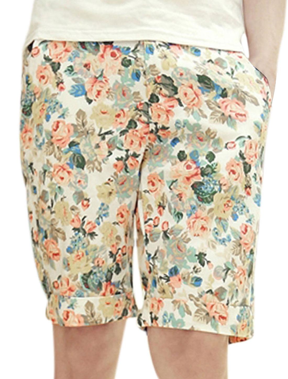 Men Floral Prints Belt Loop Mid Rise Slim Casual Shorts Multi-color W28