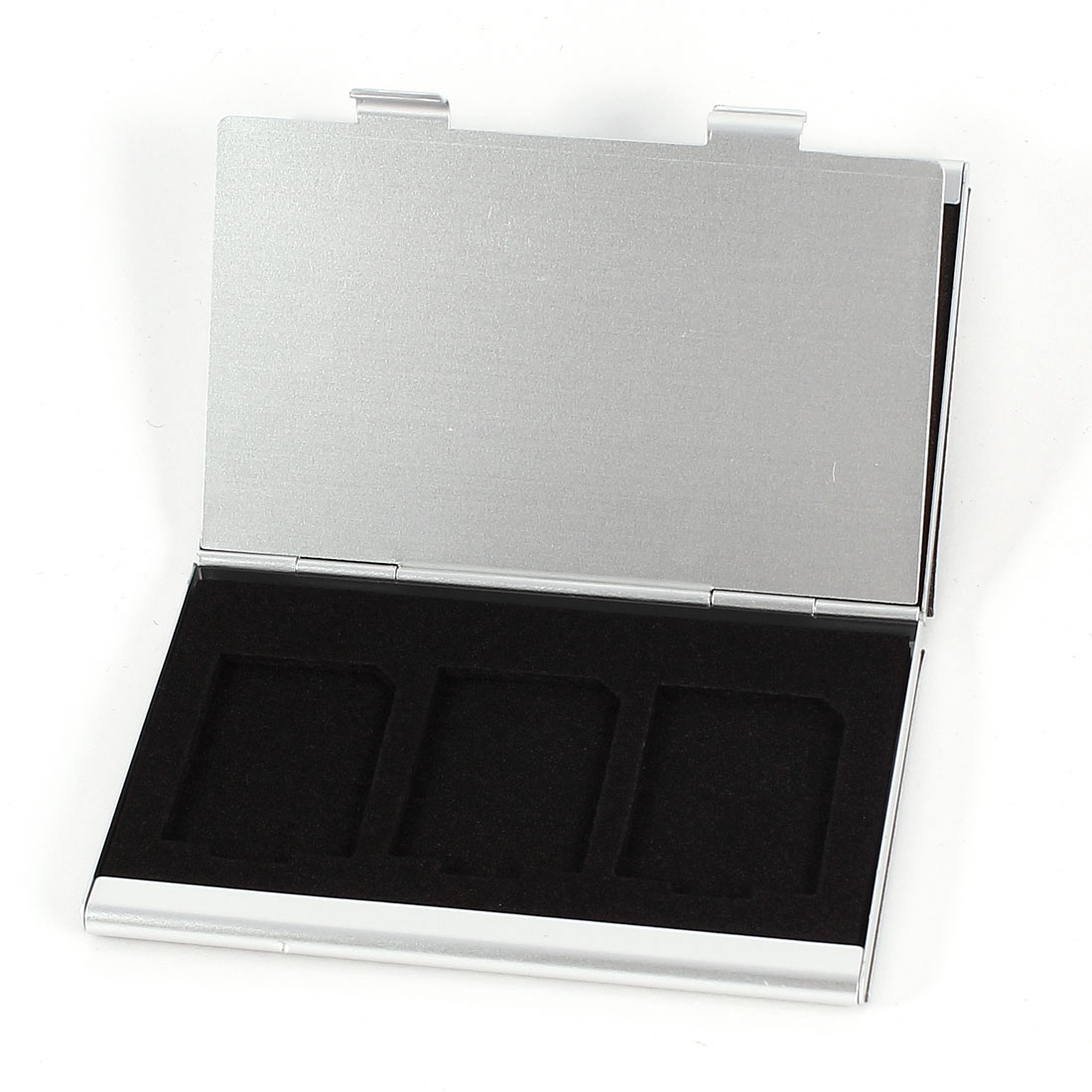 Black Faux Leather Coated 5 Capacity SD SDHC Memory Card Holder Case Silver Tone