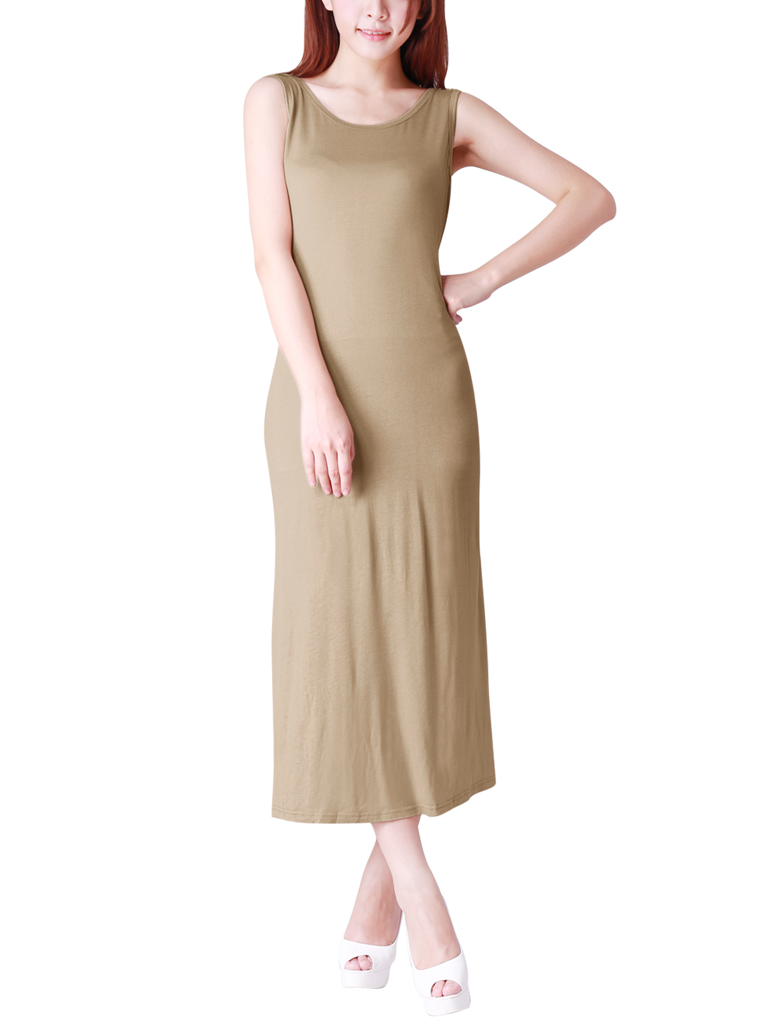 Ladies Stylish Bare Back Sleeveless Tank Dress Khaki L