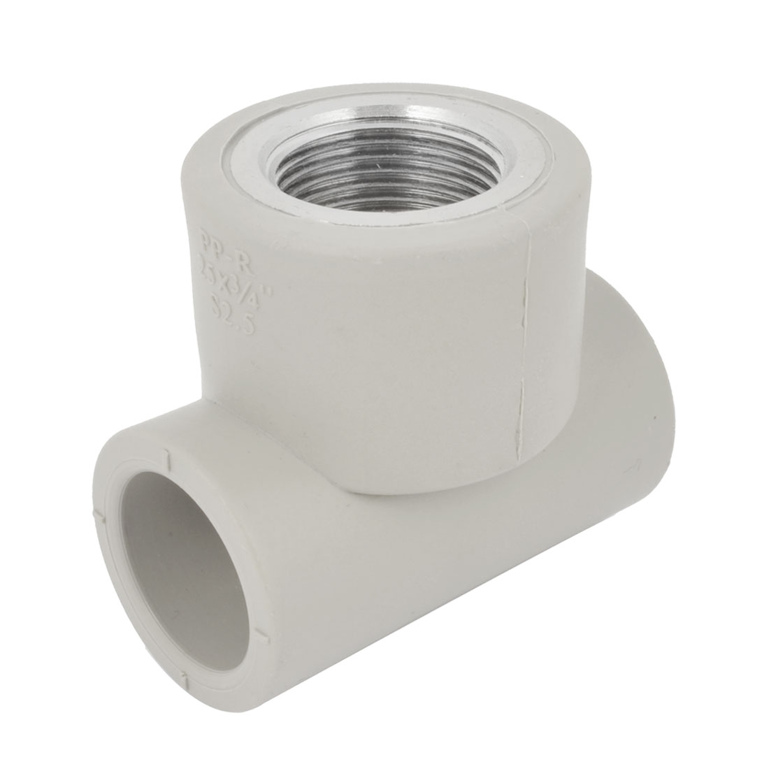 Gray PVC 3/4PT Thread 25mm Tee 3 Way Water Pipe Tube Adapter Connector