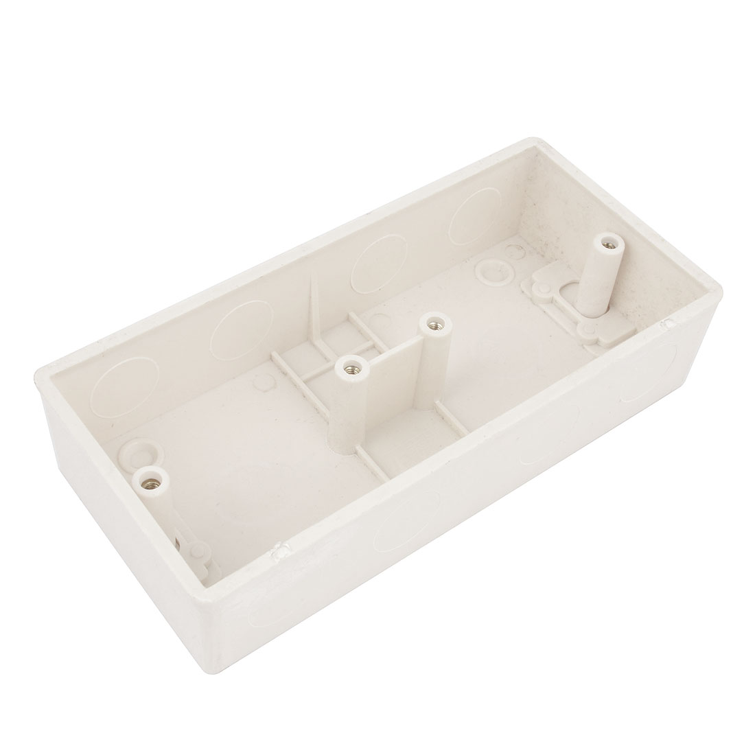 Flush Mounted Electrical Double Socket Back Box Pattress 2 Gang 167x77x38mm White