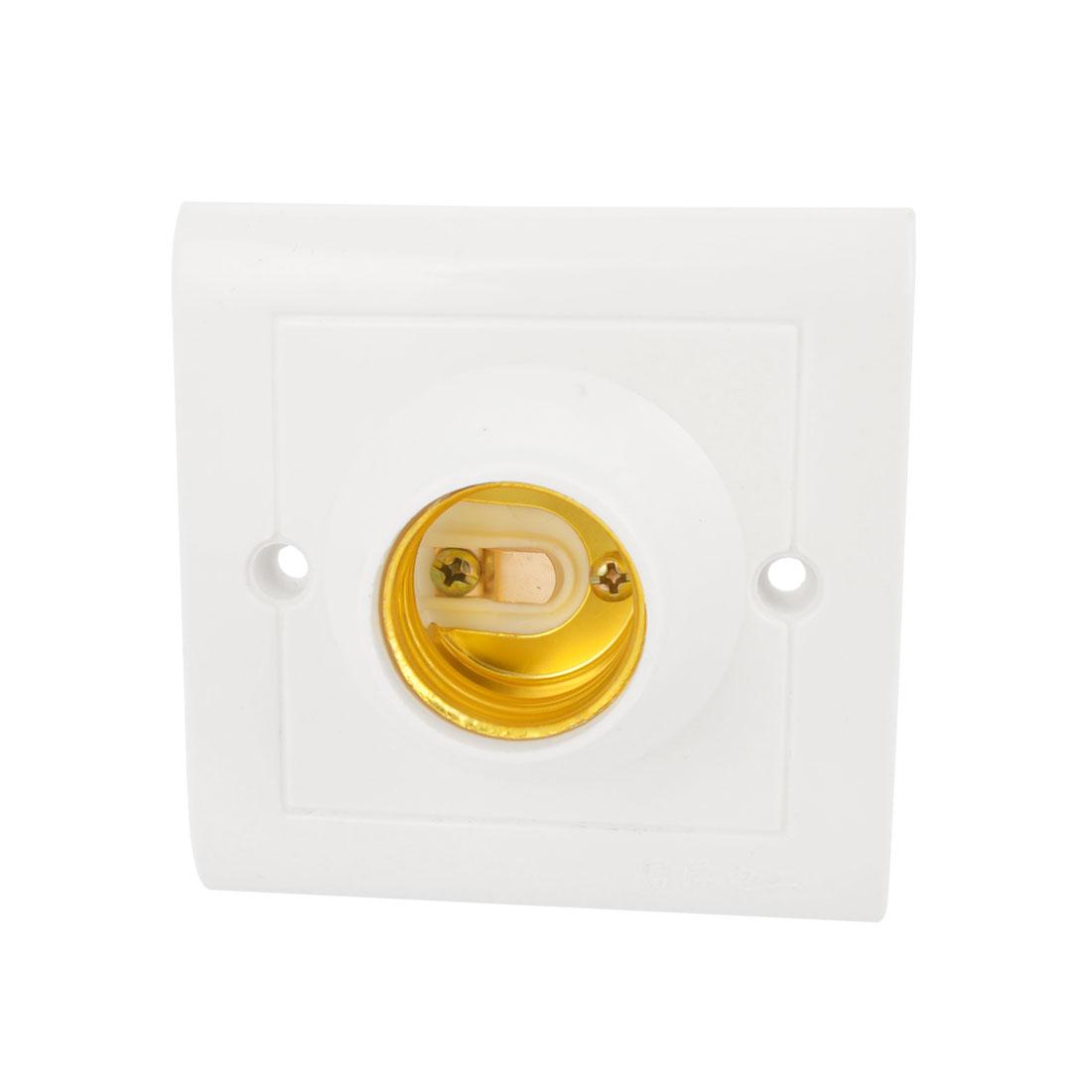 White Plastic E27 Ceiling Light Bulb Socket Holder AC 250V 60W