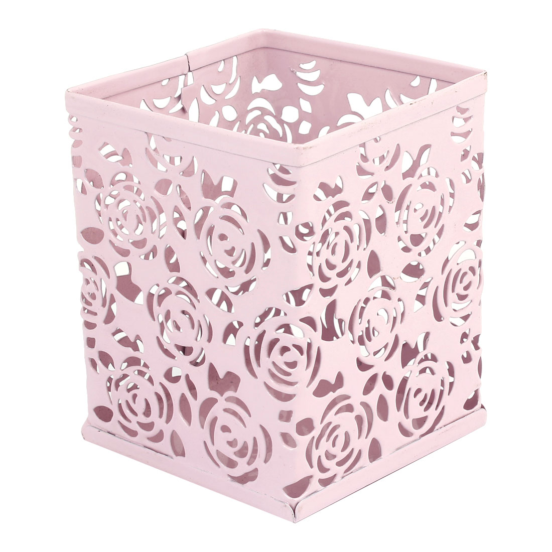 Pink Metal Hollow Out Flowers Pencil Pen Holder Container