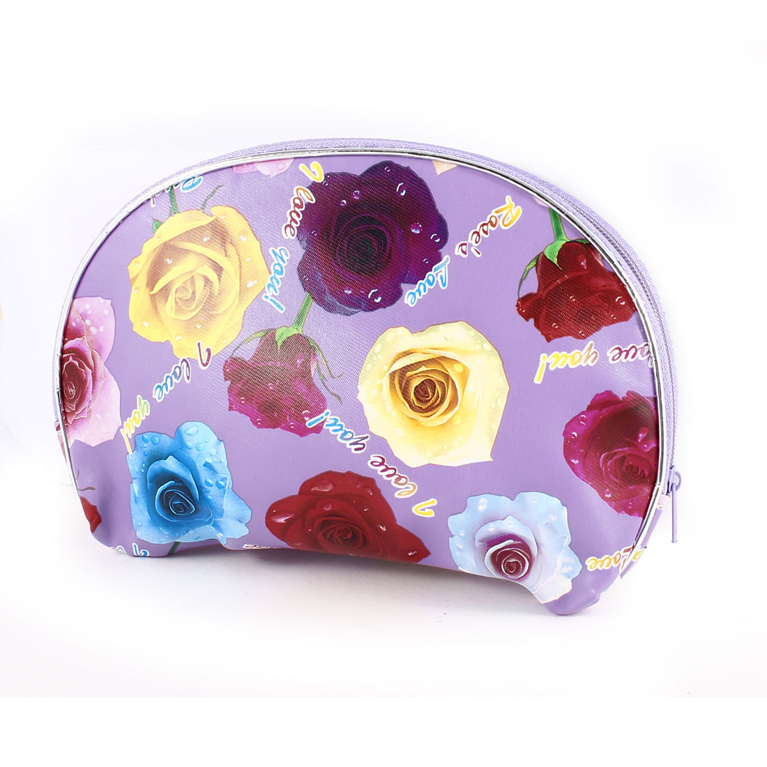 Lady Colorful Flower Rose Pattern Zipper Closure Organizer Cosmetic Bag Pouch