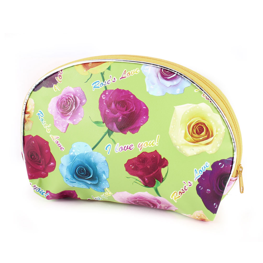 Zipper Closure Rose Print Green Faux Leather Cosmetic Bag Pouch for Women