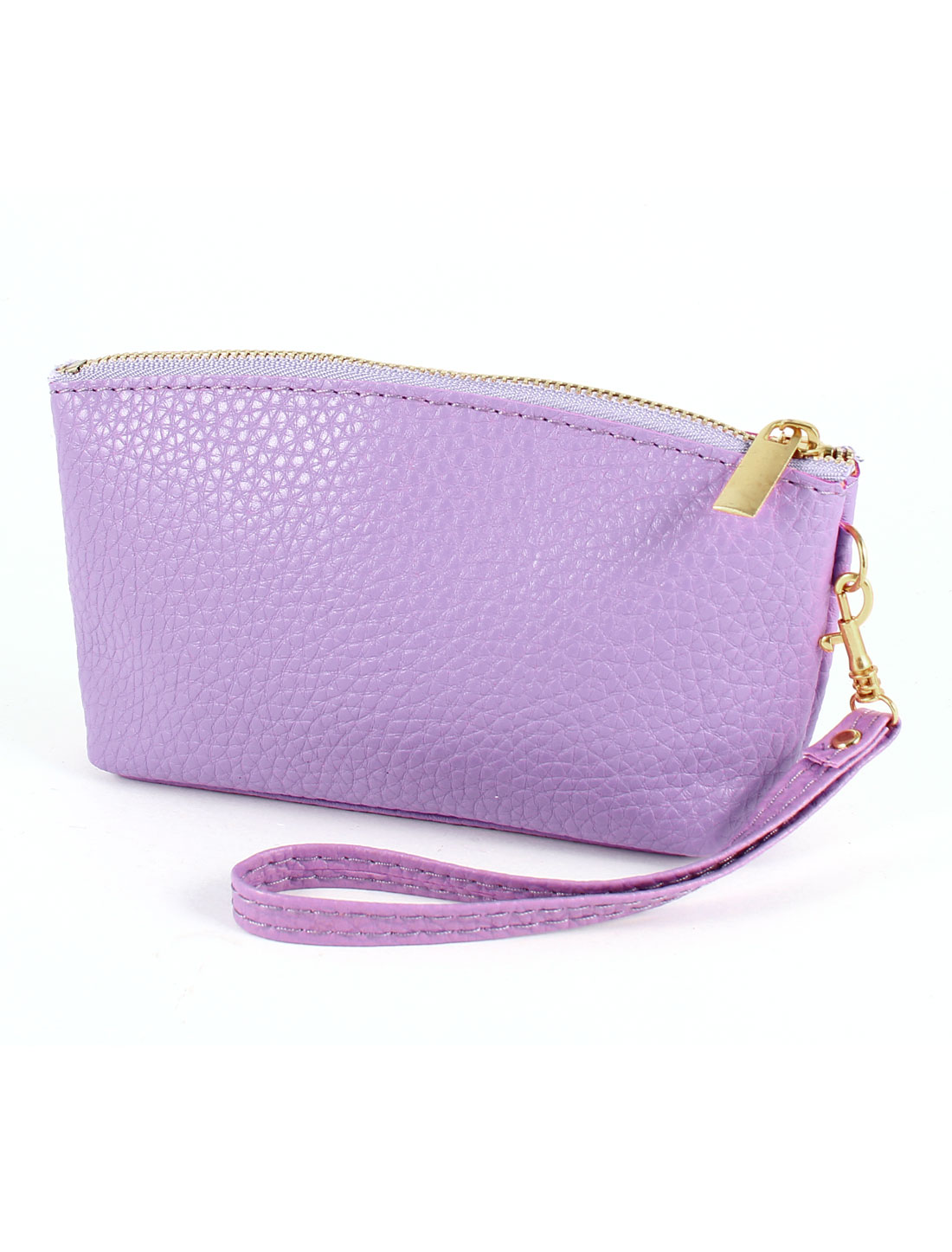Lady Purple Litchi Pattern Faux Leather 3 Compartments Phone Change Bag Pouch