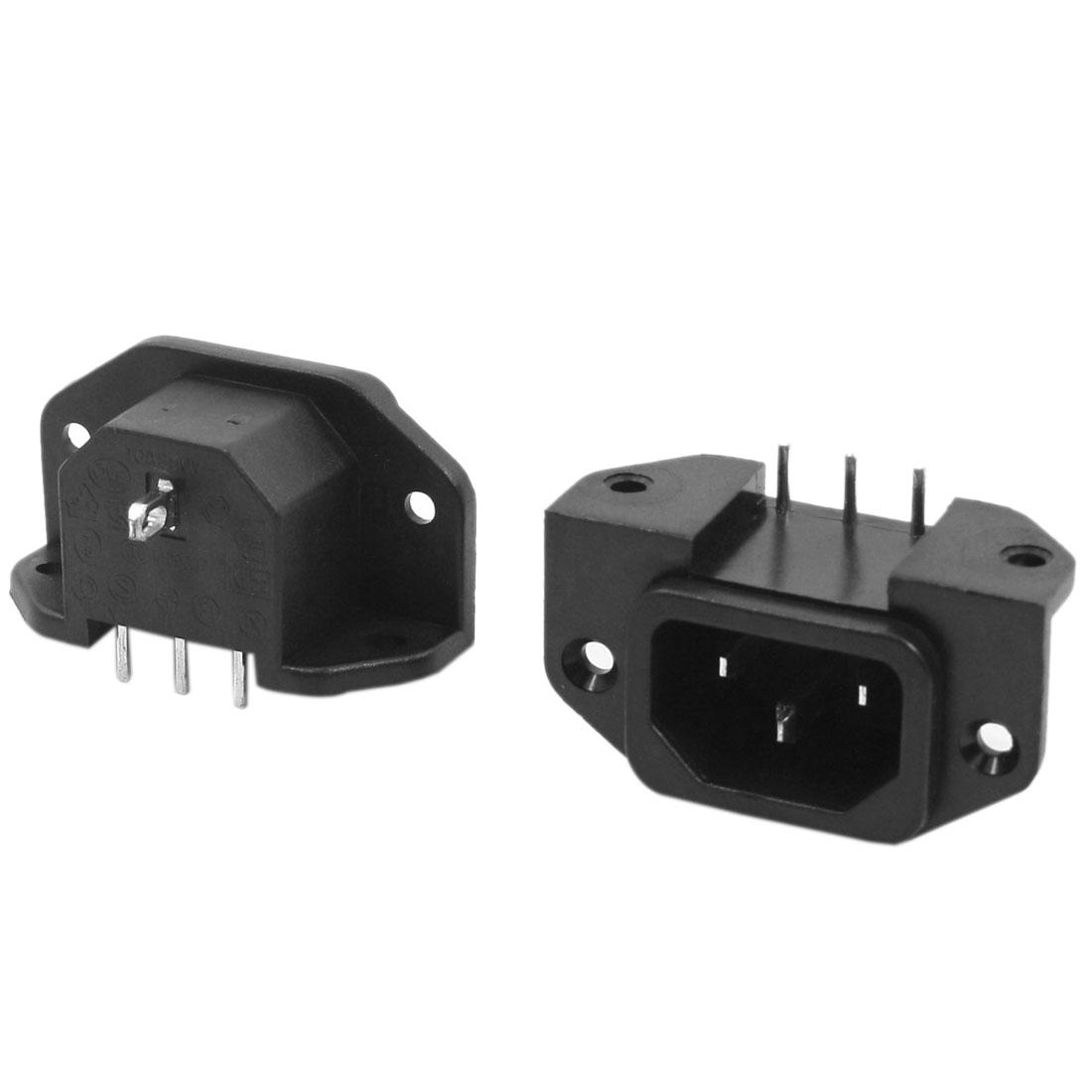 2 Pcs IEC320 C14 Inlet Welding Power Adapter Connector AC 250V 10A