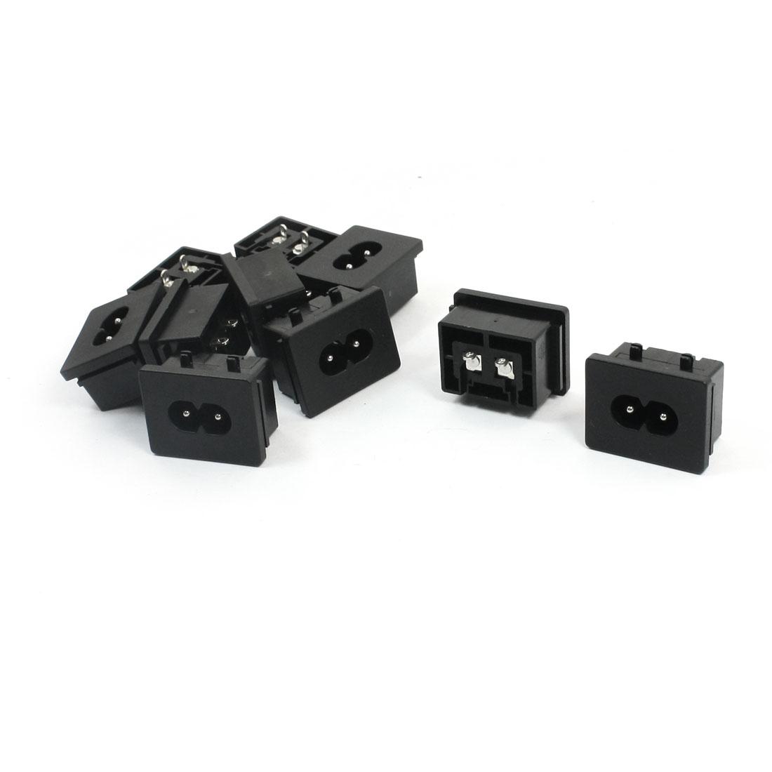 AC 250V 10A IEC320 C8 Male PCB Board Soldering Power Adapter 10Pcs
