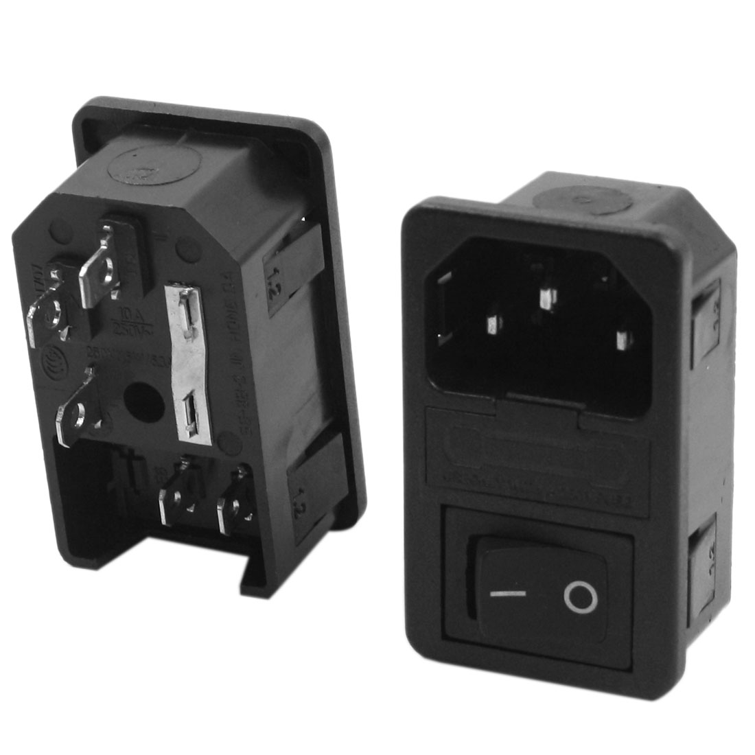 2Pcs Black Boat Switch Fuse Holder C14 Inlet Power Adapter AC 250V 10A