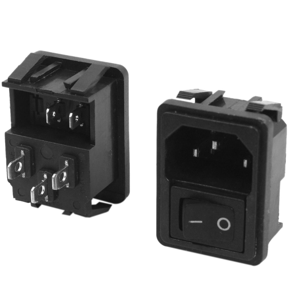 2Pcs AC 250V 10A C14 Socket Power Adapter Converter w Rocker Switch