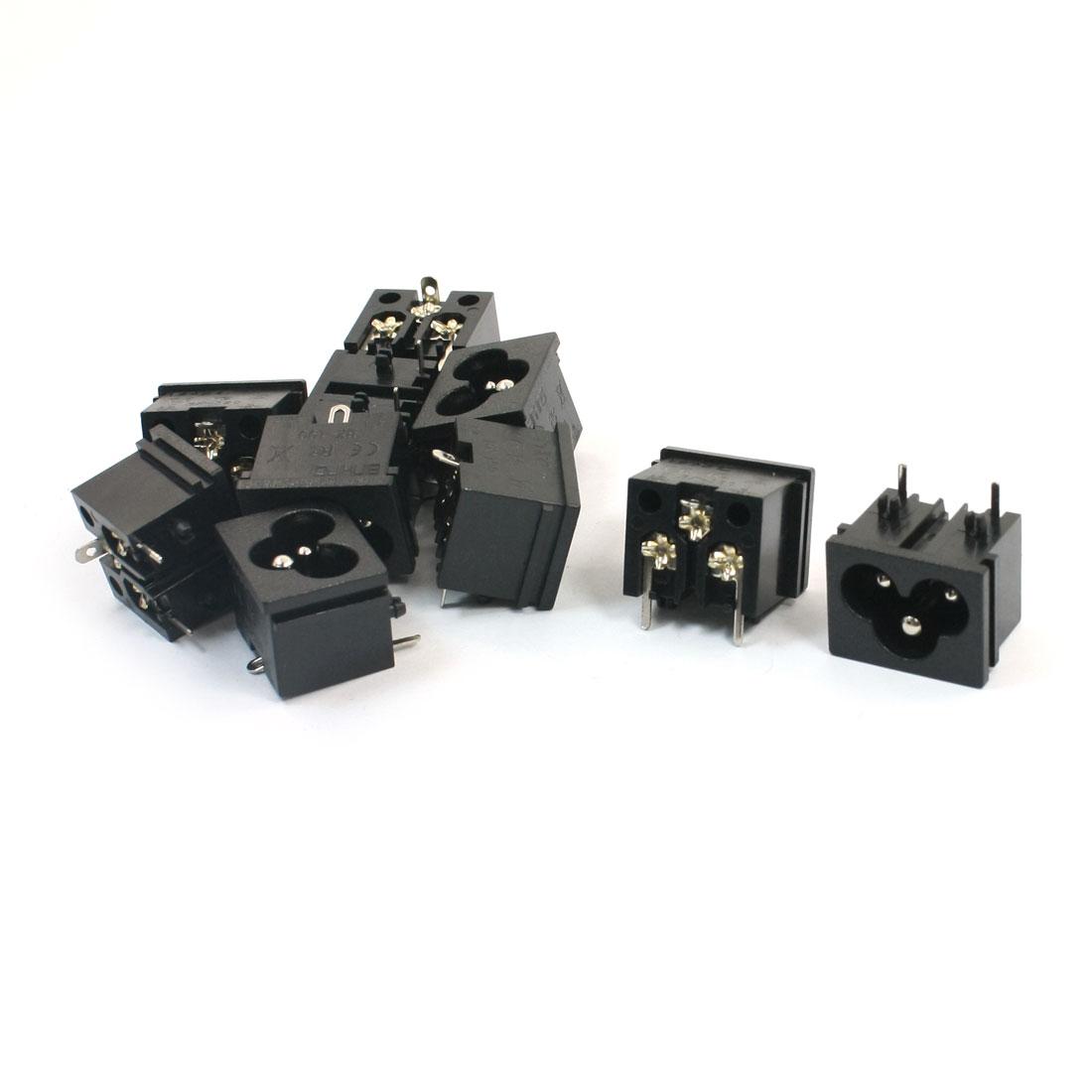 AC 125V 7A IEC320 C8 Socket Power Supply Adapter Converter 10Pcs