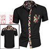 Men Flower Pattern Single Breasted Pocket Slim Fit Shirt Black S