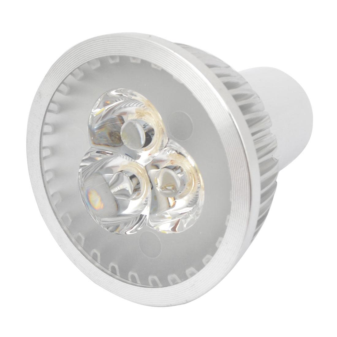 AC 85-265V 3W MR16 Socket White Round Head 3 LEDs Spotlight Bulb Lamp
