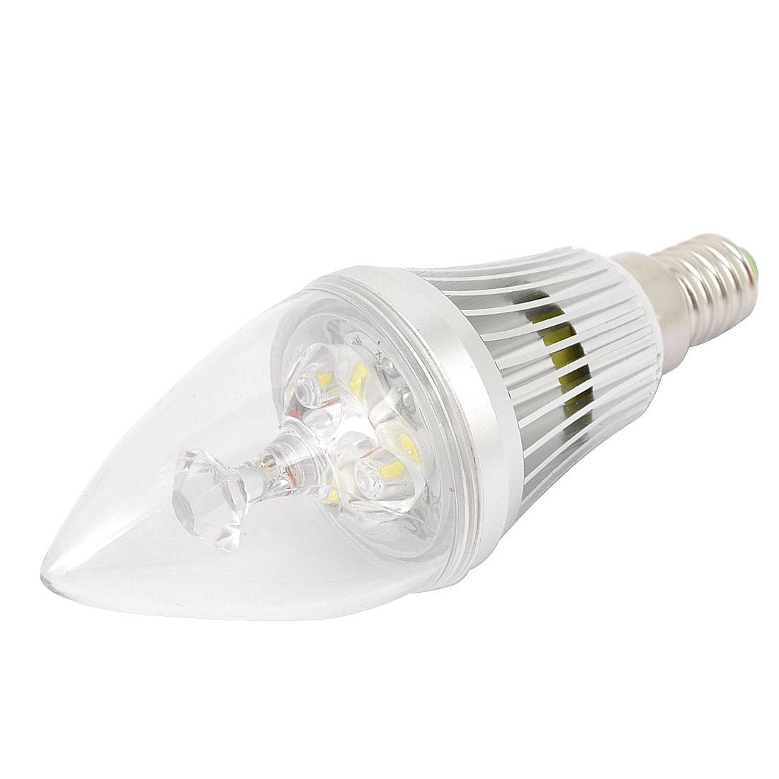 AC 85-265V E14 Socket 3 LEDs White Light Olive Shaped Candle Light Bulb 3W