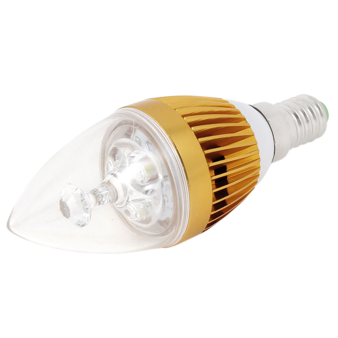 AC 85-265V E14 3W Power 3-LED Pure White Ceiling Downlight Candle Light Lamp Bulb