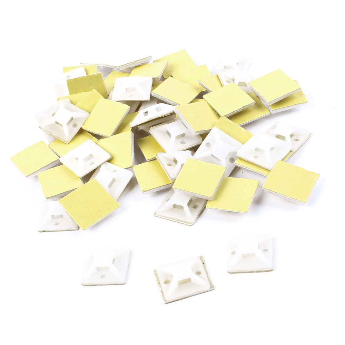 200pcs Fixing Wire 20x20mm 25x25mm Square Shape White Plastic Self-Adhesive Cable Tie Mount Base