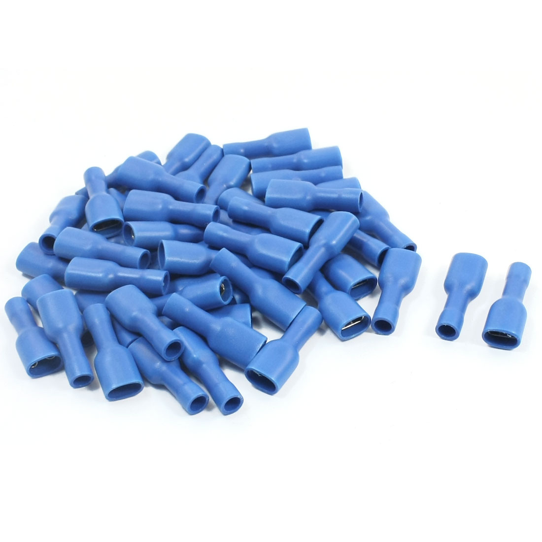 50Pcs FDFD2-250 Blue Plastic Coated Female Spade Connector Crimp Push-On Insulated Terminal 16-14AWG Wire