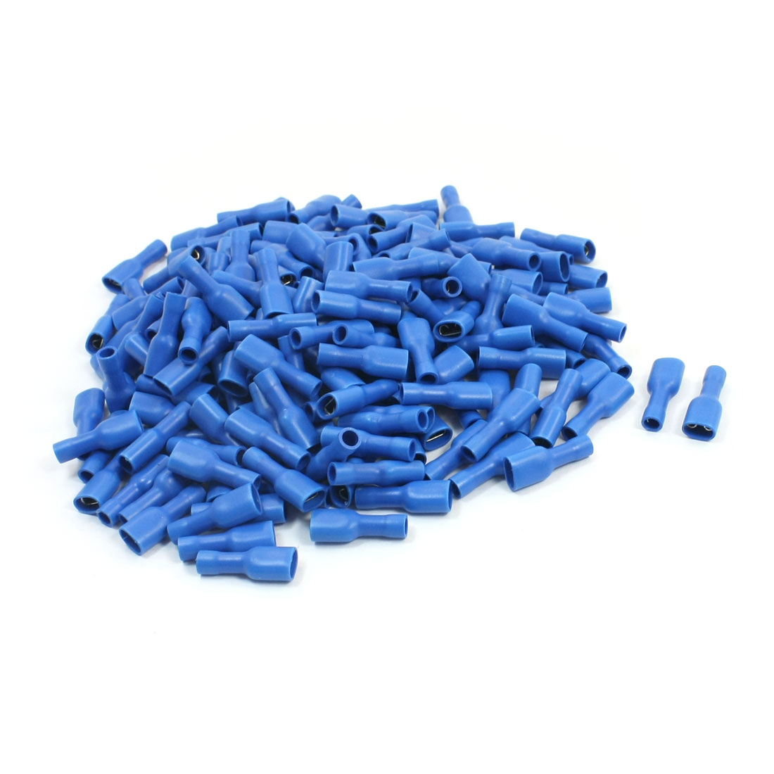 200Pcs FDFD2-250 16-14AWG Wire Blue Plastic Coated Spade Crimped Connector Push-On Insulated Terminal