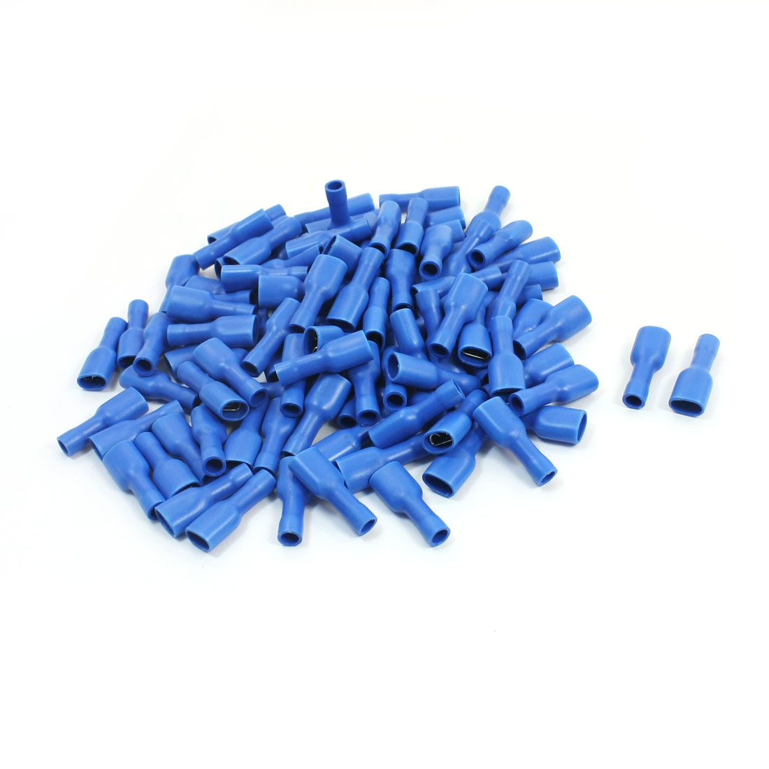 100 Pcs FDFD2-250 16-14AWG Wire Blue Plastic Coated Female Spade Connector Push-On Insulated Crimp Terminal