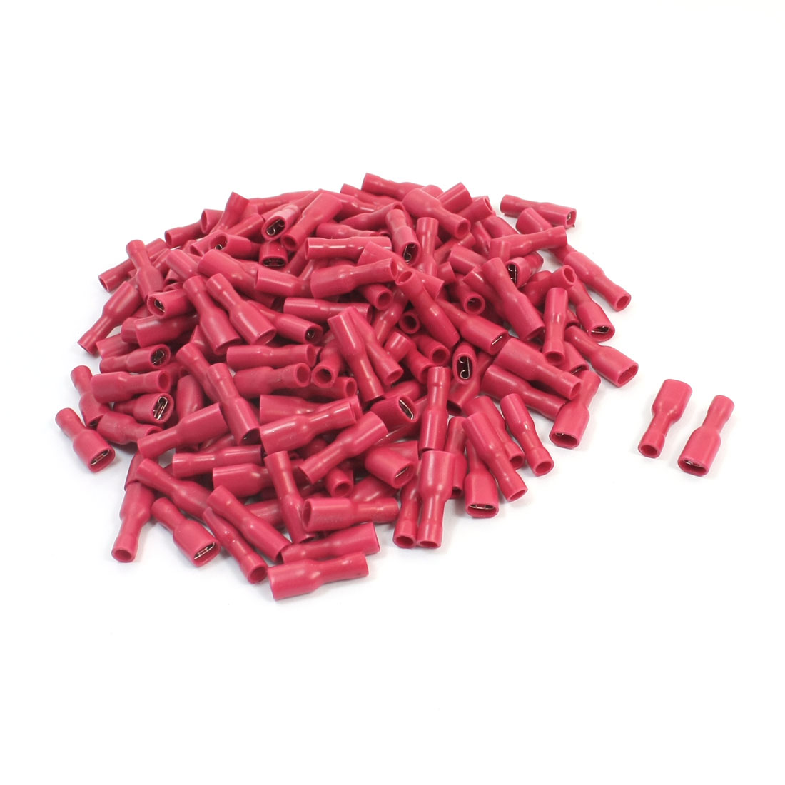 200 Pcs FDFD2-250 22-16AWG Wire Red Plastic Coated Female Spade Connector Push-On Insulated Crimp Terminal