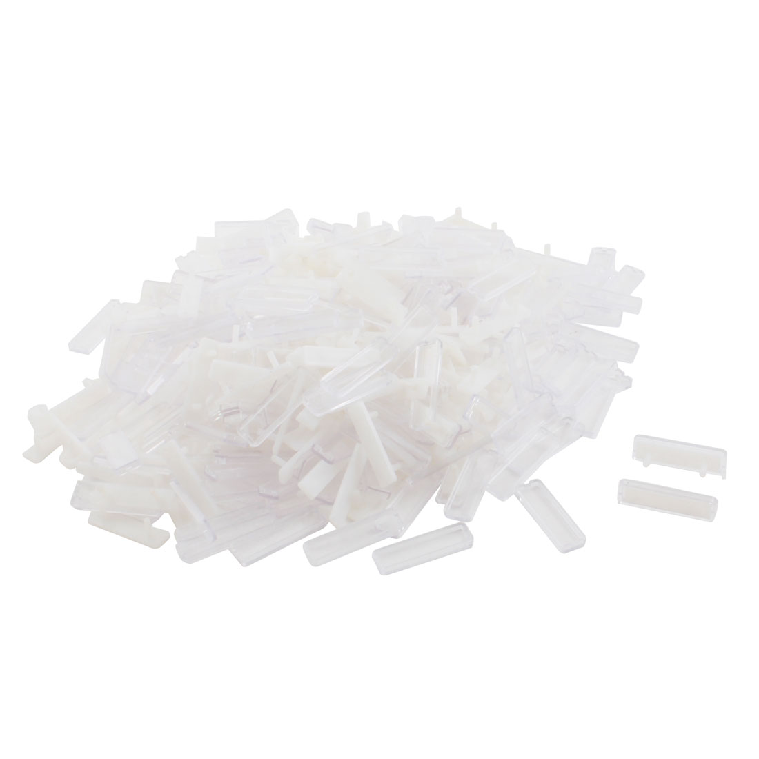 200Pcs 13mm x 45mm Rectangle Plastic Waterproof Wire Terminal Label Stick White Clear for Power Distributer Case
