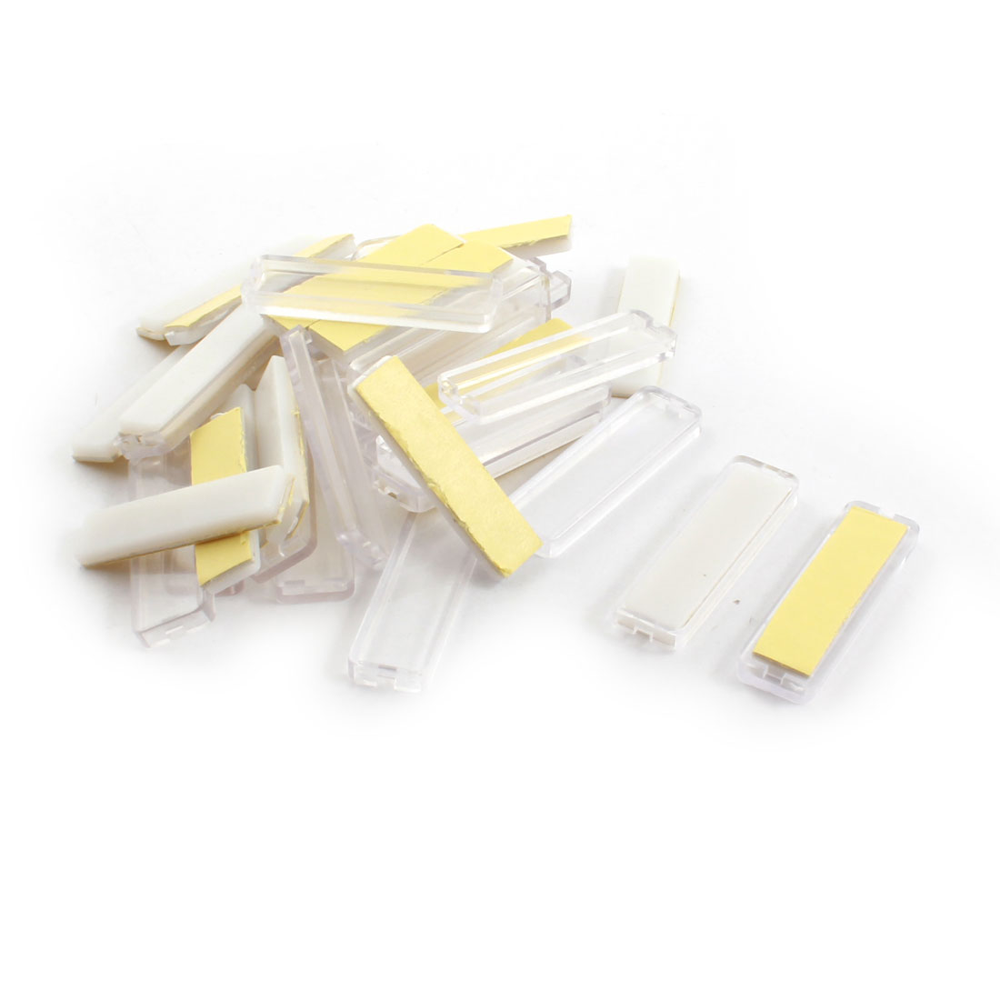 20Pcs 13x45mm Rectangle Clear White Plastic Waterproof Adhesive Power Distributor Case Cable Wire Label Stick