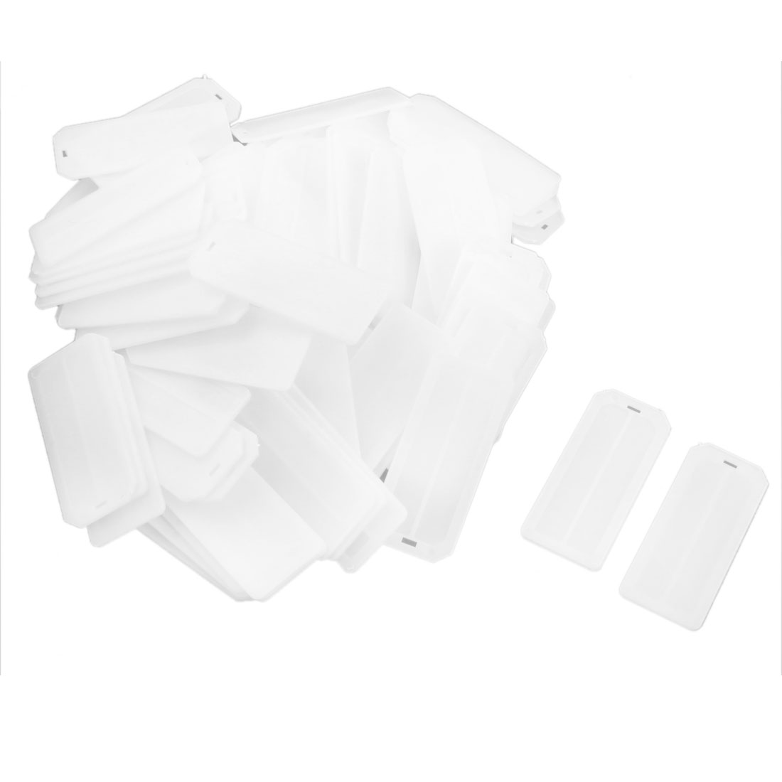 100pcs 72mm x 31mm Rectangle White Plastic Flexible Blank Wire Cable Marker Plate Swing Tag Hangtag Label Identifier