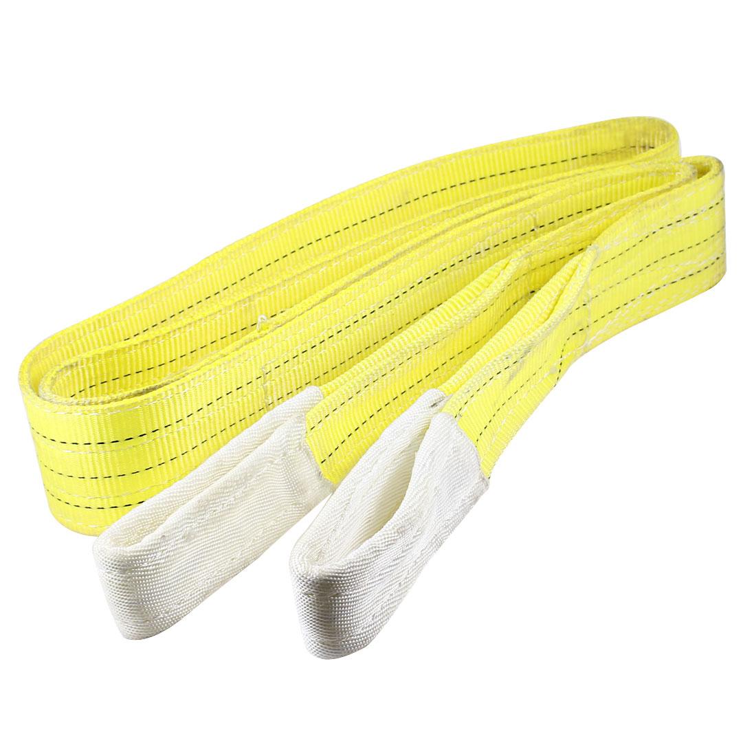 300cm Length 7.5cm Width 3 Ton Yellow Polyster Webbing Lifting Tow Strap