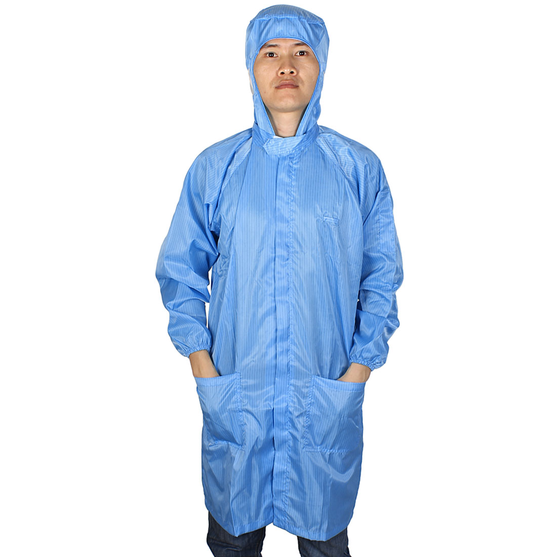 L Blue ESD Lab Zip Up Hooded Anti Static Coat Overalls Uniform for Women Men