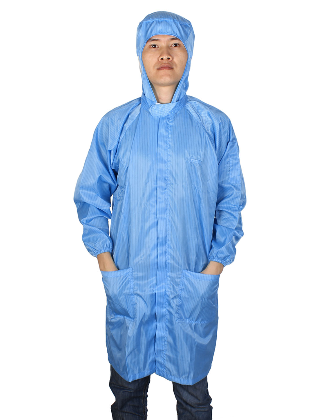 L Blue Zip Up Elastic Cuff ESD Lab Anti Static Coat Overalls Uniform for Unisex