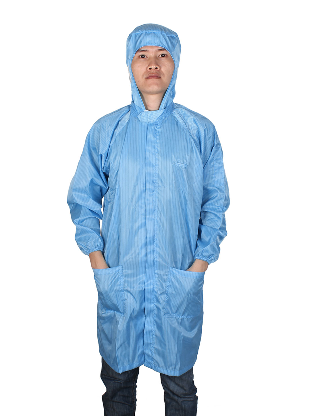 XL Blue Lab Zipper Elastic Cuff Anti Static Coat Overalls Uniform for Unisex