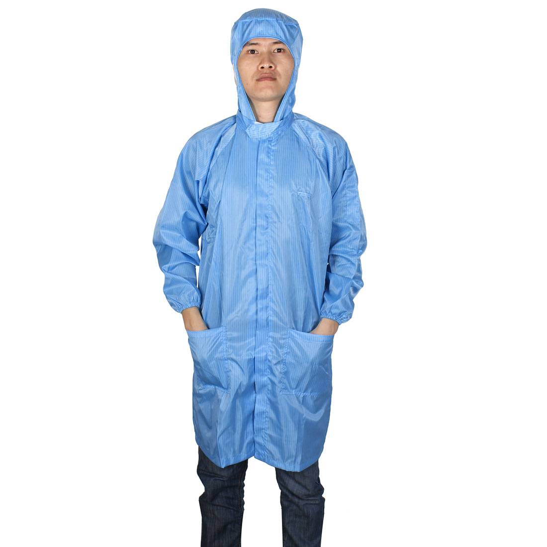 Unisex Long Sleeve Stripes Pattern Clean Room Anti Static Coat Uniform Blue XXL