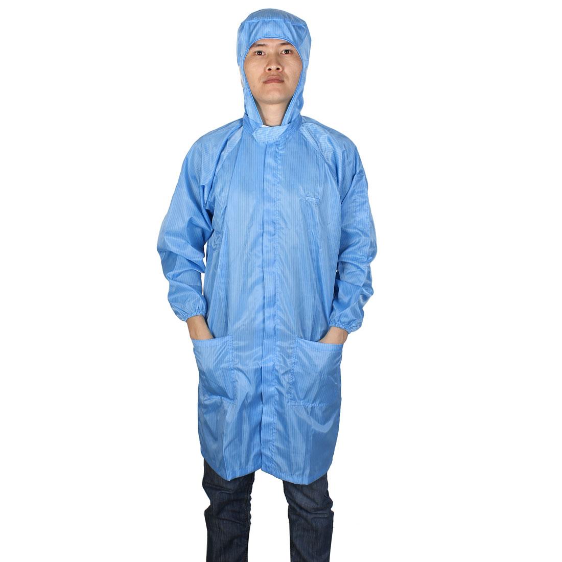 Unisex Long Sleeve Stripes Pattern Clean Room Anti Static Coat Uniform Blue XXL