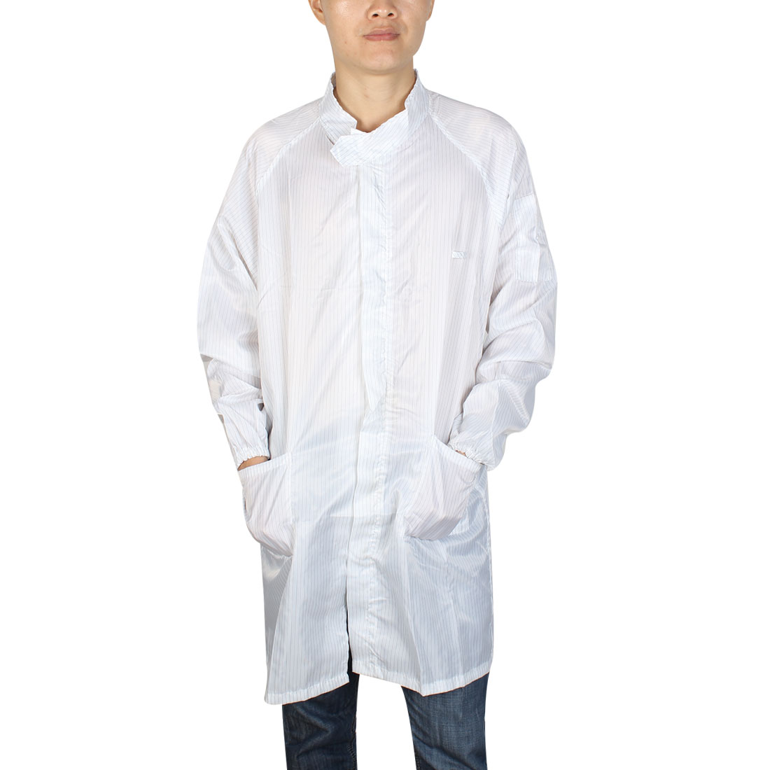 L White ESD Lab Zip Up Elastic Cuff Anti Static Coat Overalls Uniform for Women Men